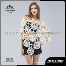 Fashion Oversized Wide Neck Floral Crocheted Seamless Poncho