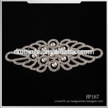 Hierro en vestido de novia de la boda Appliques de cristal del Rhinestone, China Applique al por mayor