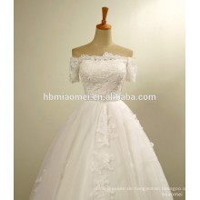 Western-Hochzeits-Kleid weg von der Schulter Appliques Flower Lace bestickt Perlen Perlen Sexy Braut Hochzeitskleid