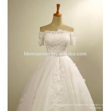 Vestido de novia occidental del hombro apliques de encaje bordado de flores perlas de abalorios vestido de novia atractivo de la boda