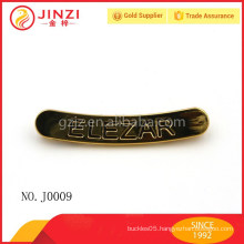 Arc shape gold metal label with engraved customized letters,zinc alloy metal plate