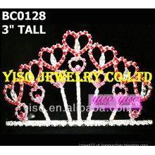 Coroa de tiara de cristal do coração