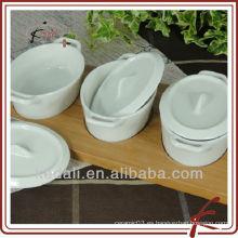 Artículo caliente del hogar Plato de cerámica blanco del bocado de la porcelana con la bandeja de bambú