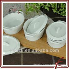 Hot Household item branco cerâmica porcelana Snack prato com bandeja de bambu