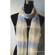 100% Hilado de algodón teñido bufanda de rayas