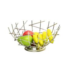 Fruit Basket Creative Geometry Countertop  Stainless Steel Vegetable Bowl Kitchen Storage Wire Fruit Basket