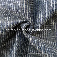 Algodón / hilo de lino teñido tejido de tela (QF13-0765)
