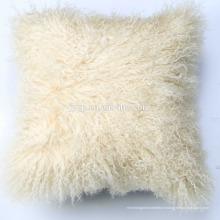 Coussin de luxe en fourrure d'agneau mongol