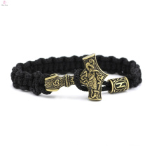 Stainless Steel Hammer Woven Rope Viking Bracelet