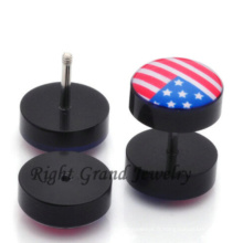 8MM acrylique Faux Earlets Faux oreille Tunnel Piercings