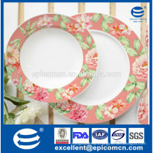 spring flowers printing ceramic dessert plate and fruit plate