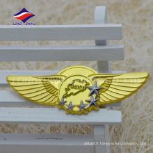 Concevez votre propre badge étoile d'aile d'or avec la broche de sécurité