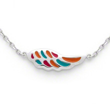 Wing Shape Necklace 925 Silver Chain Multi Color Jewelry for Children