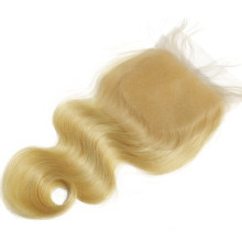 Russian body wave blonde swiss lace closure silk top bleached knots for women women free part three part side part