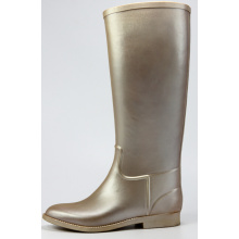 Golden Riding Rubber Rain Boots For Handsome Women