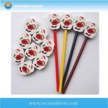 custom promotional school pencil cap eraser