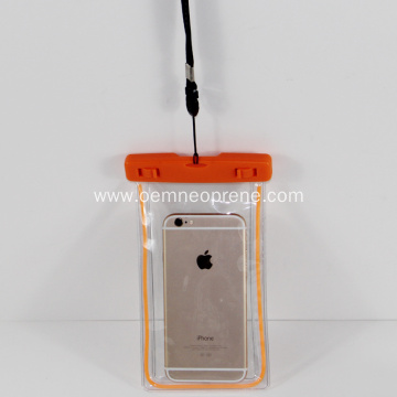 Latest Waterproof Orange PVC Swimming Phone Bags