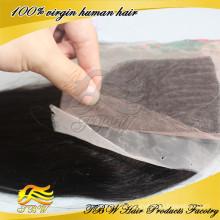 Fechamento 100% da base de seda cambojana do cabelo humano do Virgin