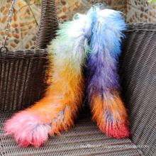 Women Autumn Scarf Rainbow Fashion Mongolian Fur Scarf