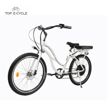 Woman white aluminum electric beach cruiser bicycles /beach cruiser ebike bike