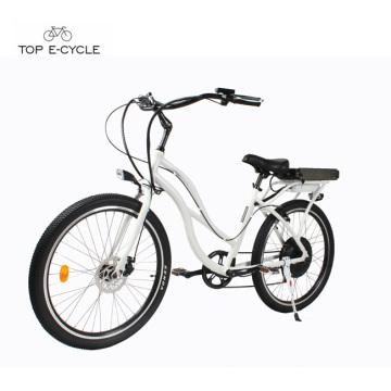 Женщина белый алюминиевый электрический пляж крейсер велосипед /пляж велосипед круизер электровелосипедов