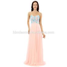 Gros mousseline de soie hors épaule couleur rose longueur de plancher robe de soirée de soirée avec de la dentelle bleue