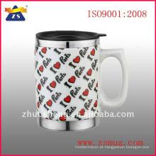 cerâmica de 16 onças para fora da caneca de café interior de aço inoxidável