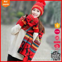 Conjunto de sombrero de bufanda de invierno de pañuelo conjunto de bufandas tejidas, sombrero de mitones de sombrero