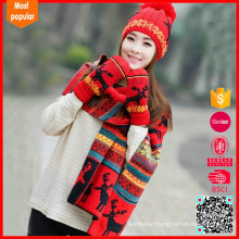 Neckerchief winter scarf hat set knitted, knitted hat mittens scarf set