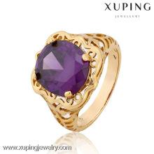 12834-Xuping latest gold finger ring designs, men's ring men ring model, Big one stone ring designs for men