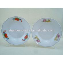 Africa hot Sale Hotel Used cut edge Cheap Ceramic deep Plate/porcelain soup plate round