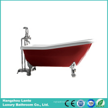 Hot Red Classic Acrylic Bathtub with Aluminum Alloy Feet (LT-11TR)