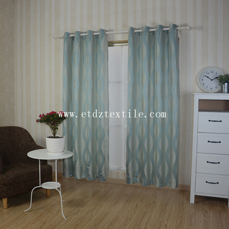 100% Polyester Jacquard Window Curtain GF028 Water Blue