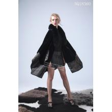 Lady Avustralya Merinos Shearling Cape Coat