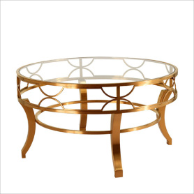 Leisure stainless steel glass round coffee table