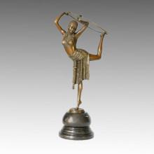Танцовщица Бронзовая скульптура Водевиль Резьба Латунная статуя TPE-314