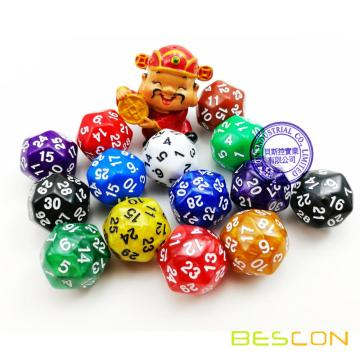 BESCON Ensemble de 9 morceaux de dents polyédriques D30 D24 D20 D12 D10 D8 D6 D4 Jeu Dice Set Dungeons and Dragons DND MTG RPG Dice Marble Blue