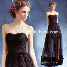 Damas Sexy elegante volante corto frente largo espalda negro Prom vestidos de fiesta