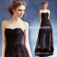 Ladies Sexy Elegant Ruffle Short Front Long Back Black Prom Party Dresses