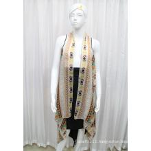 Lady Fashion Printed Polyester Chiffon Silk Shirt (YKY2209)