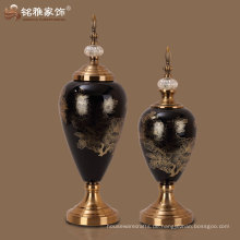Glasvasen schwarze Glasvase mit Deckel Innen-Tisch dekorative Glasvase