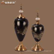 vasos de cristal florero de vidrio negro con tapa tabla de interior vaso de vidrio decorativo