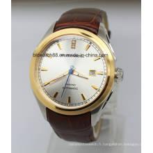 Le concepteur de luxe des hommes observe la montre automatique d'acier inoxydable avec le Japon Movt