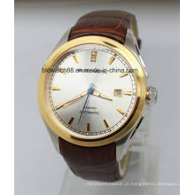 O relógio luxuoso do aço inoxidável dos relógios do desenhista dos homens luxuosos com Japão Movt