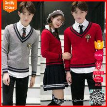 Nuevo diseño 100% lana cuello v suéter escolar uniforme