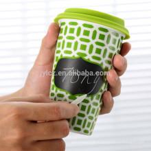 280мл двойной стенкой многоразовые керамическая чашка кофе с силиконовой крышкой
