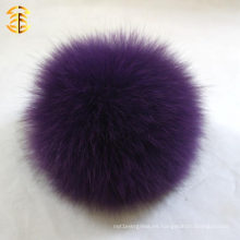 Púrpura suave piel de zorro pom poms sombrero accesorios 11-12cm al por mayor mullidas móvil zorro pompom