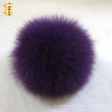 Фиолетовый мягкий лисица мех помповой шляпы аксессуар 11-12см оптовой пушистый мобильный лиса помпома
