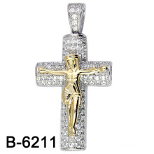 New Item Two Tones Plating Micro Setting Cross Pendant.