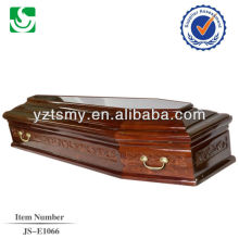 direct sale European style mahogany wood adult coffin made in China